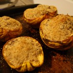 Roasted Acorn Squash with Onions and Chestnuts